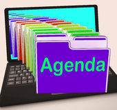 Agenda Folders Laptop Show Schedule Lineup Or Timetable Stock Image