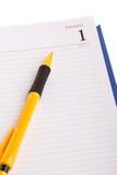 Agenda with fountain pen Stock Photos