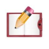 Agenda i ołówek odizolowywający na bielu Zdjęcia Stock