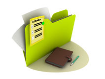 Agenda icon. With writing pad on the ground stock illustration