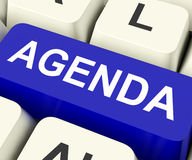 Agenda Key Means Schedule Or Outline Royalty Free Stock Images