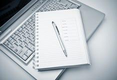 agenda laptop Zdjęcie Stock