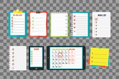 Agenda list concept vector illustration. Business paper clipboard in flat style. Self-adhesive notes color hand article. Important template advice page stock illustration