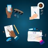 Agenda list concept vector illustration set business note ofiice calendar wishlist checklist shopping list plan to do Royalty Free Stock Photography