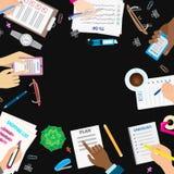 Agenda list concept vector illustration set business note ofiice calendar wishlist checklist shopping list plan to do Stock Image