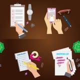 Agenda list concept vector illustration set business note ofiice calendar wishlist checklist shopping list plan to do stock illustration