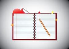 Agenda met kleverige hartnota Stock Afbeelding