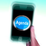 Agenda On Mobile Phone Shows Schedule Program. Agenda On Mobile Phone Showing Schedule Program Royalty Free Stock Images