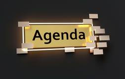 Agenda nowożytny złoty znak Obraz Stock
