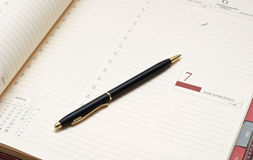 Agenda and pen. Laconic business still life Stock Photo