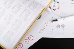Agenda pessoal e cartas gráficas Imagem de Stock