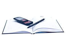 Agenda phone and a pen, business pack. For office work Royalty Free Stock Photo