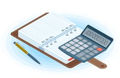 Agenda, pióro i elektroniczny kalkulator, Płaski wektorowy isometric ilustracja wektor
