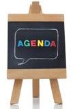 Agenda pisać na blackboard z barwionymi listami Obraz Stock