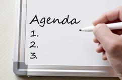 Agenda pisać na whiteboard Obraz Royalty Free