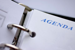 Agenda planner. Closeup, focus on word agenda Royalty Free Stock Photo