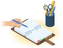 Agenda, ręka z piórem, desktop organizator Płaska isometric bolączka royalty ilustracja