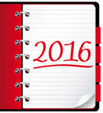 2016 agenda. Red office notebook. Illustration stock illustration