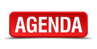 Agenda red three-dimensional button  on white background Stock Image