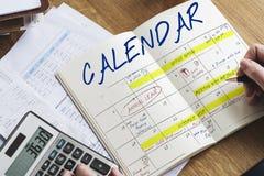 Agenda rozkładu zajęć kalendarza rozkładu grafika Zdjęcie Stock