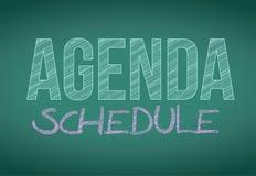 Agenda schedule message written on a blackboard. Royalty Free Stock Photo