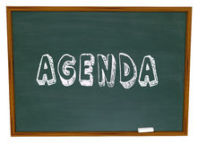 Agenda Schedule Word Chalkboard School Class Lesson Education stock illustration