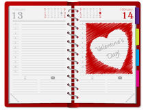 Agenda with scribbled heart Royalty Free Stock Images