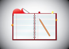 Agenda with sticky heart note Stock Image