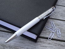 Agenda, stylus pióro i paperclips, Obraz Royalty Free