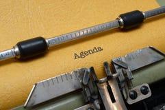 Agenda tekst na maszyna do pisania Fotografia Royalty Free