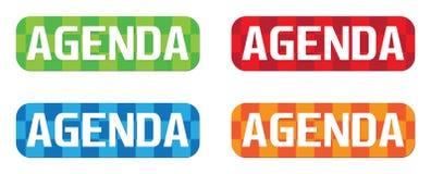 AGENDA tekst na prostokącie, zygzakowatego wzoru znaczka znak Obraz Royalty Free