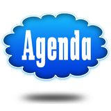 AGENDA text message on hovering blue cloud. Stock Image