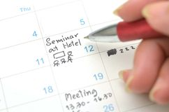 Agenda in time planner or calendar Royalty Free Stock Image