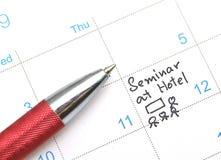 Agenda w czasu kalendarzu lub planiście Fotografia Stock