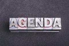 Agenda word bm Stock Photos