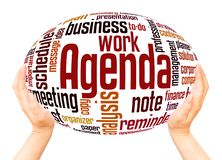 Agenda word cloud hand sphere concept royalty free illustration