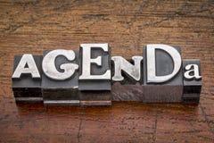 Agenda word in metal type Stock Image