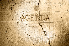 Agenda. Word agenda on wall with egyptian alphabet made in 2d software Royalty Free Stock Image