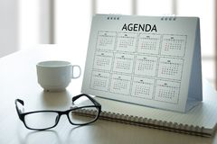 Agendy aktywności informaci kalendarza wydarzenia i Spotykać Appointm Obrazy Royalty Free