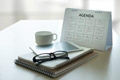 Agendy aktywności informaci kalendarza wydarzenia i Spotykać Appointm Obraz Stock