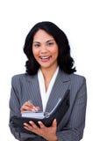 agendy bizneswoman target580_0_ ona robi notatkom Fotografia Stock