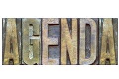 Agendy drewniany słowo Obrazy Stock