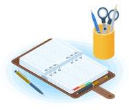 Agendy, pióra i desktop organizator, Płaska wektorowa isometric bolączka ilustracja wektor