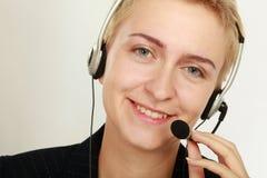 Agent amical heureux de service au centre d'appel photos stock