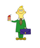 Agent with briefcase and home. Cute illustration on cartoon style Stock Photo