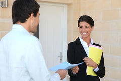 Agent with a client Royalty Free Stock Photo