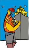 Agent de sécurité portant un casque illustration libre de droits