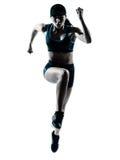 Agent die van de vrouw jogger de springt Stock Foto