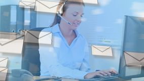 Agent et enveloppes de centre d'appel banque de vidéos