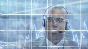 Agent et graphiques de centre d'appel banque de vidéos